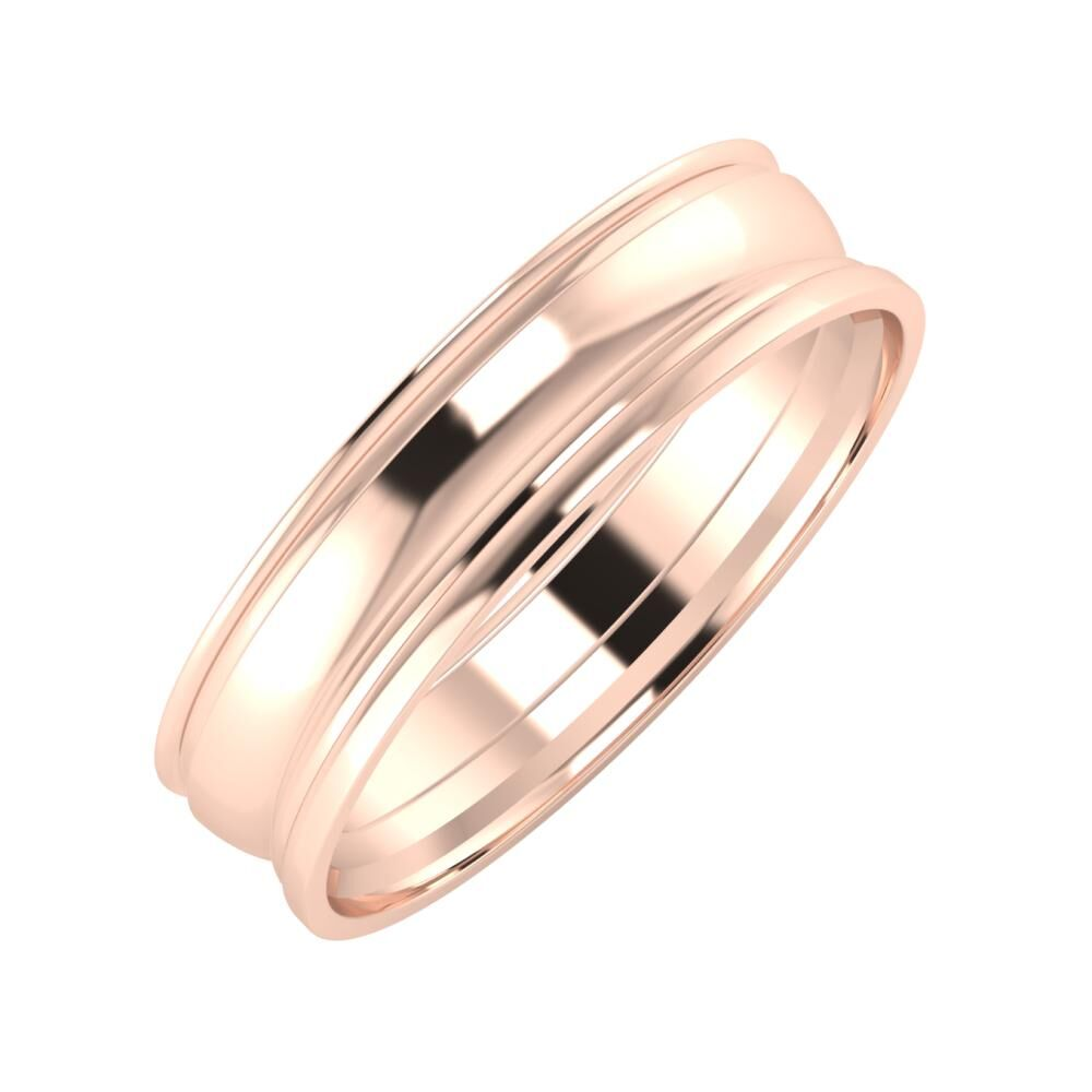 Agrippína - Ágosta - Aida 5mm 14 karátos rosé arany karikagyűrű