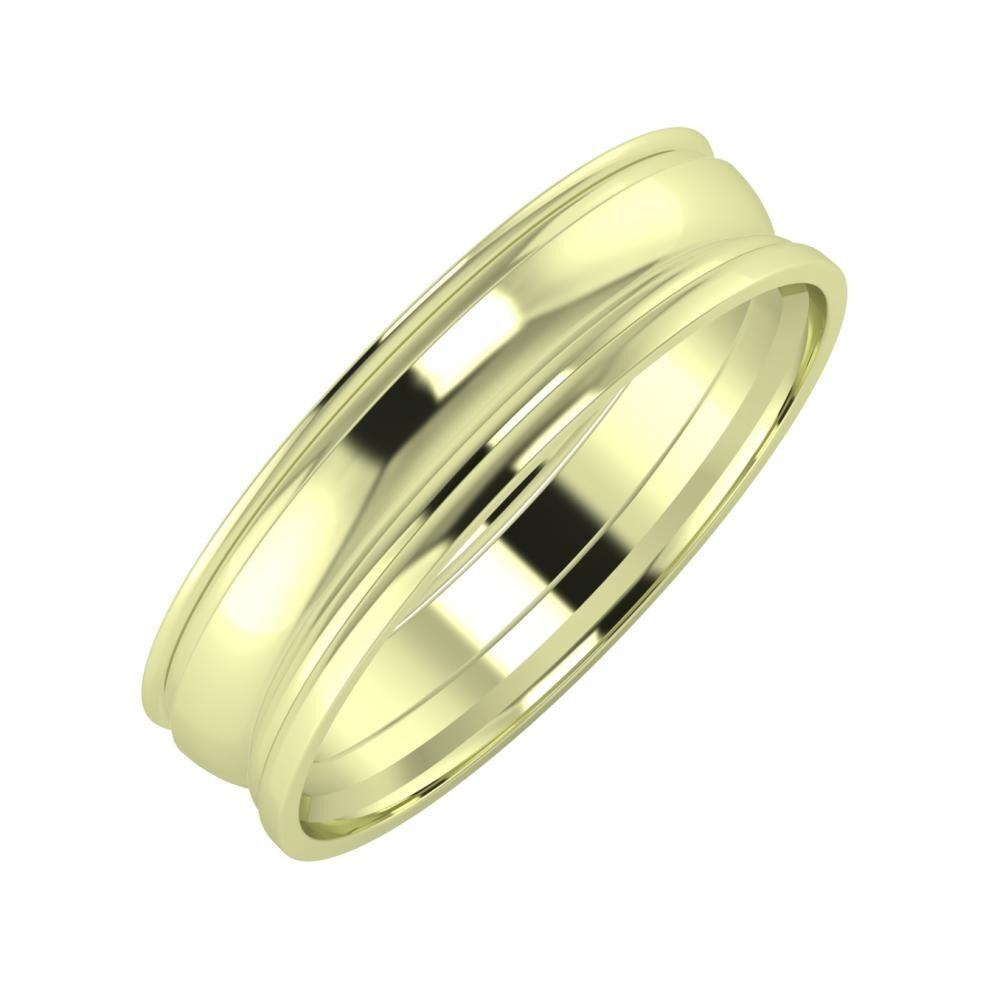 Agrippína - Ágosta - Aida 5mm 14 karátos zöld arany karikagyűrű