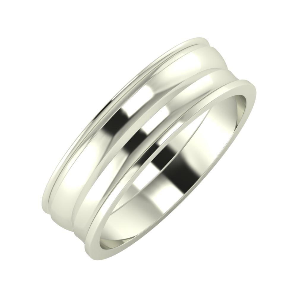 Agrippína - Ágosta - Ainó 6mm 14 karátos fehér arany karikagyűrű
