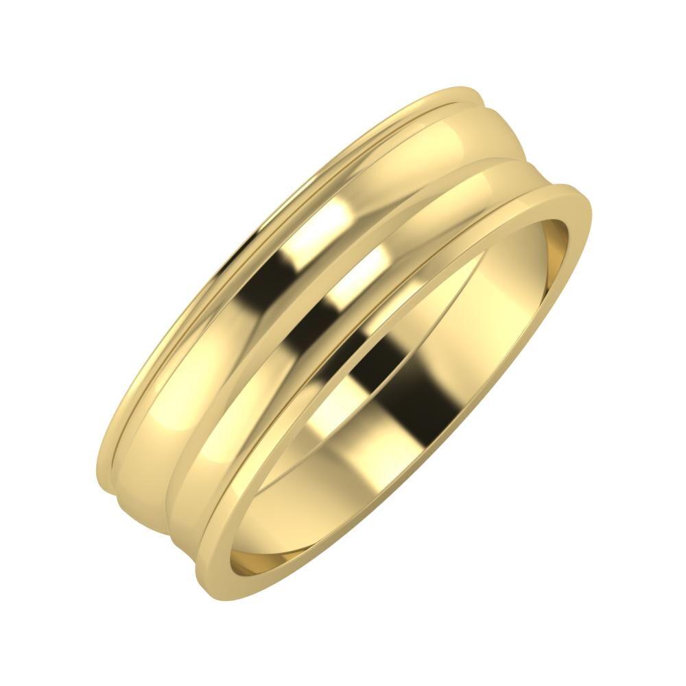 Agrippína - Ágosta - Ainó 6mm 14 karátos sárga arany karikagyűrű