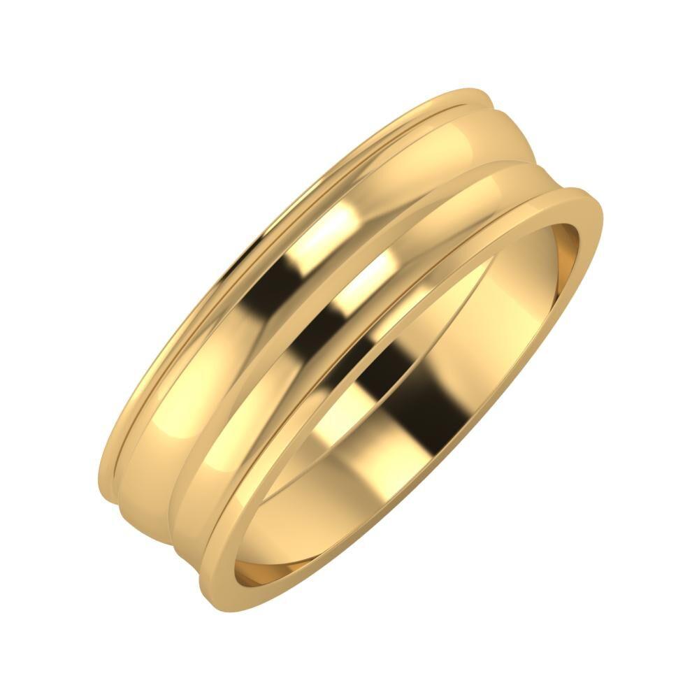 Agrippína - Ágosta - Ainó 6mm 22 karátos sárga arany karikagyűrű