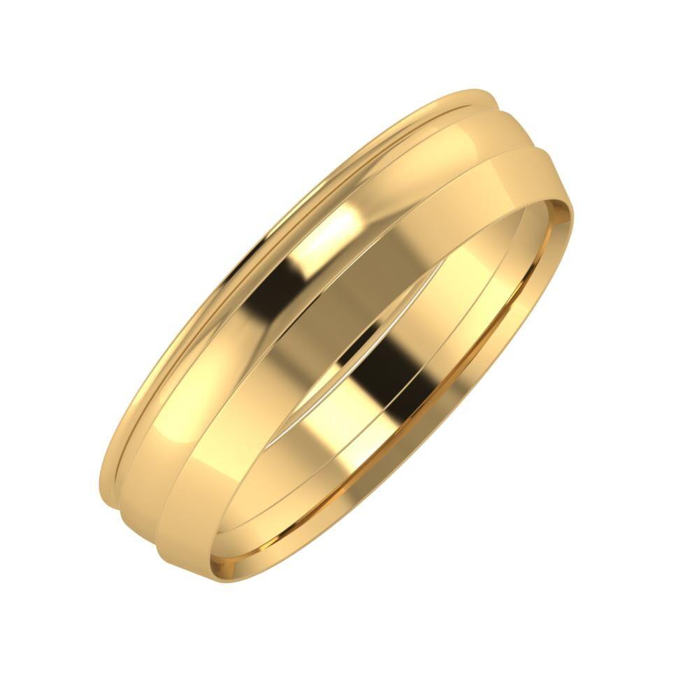 Agrippína - Ágosta - Aisah 5mm 22 karátos sárga arany karikagyűrű
