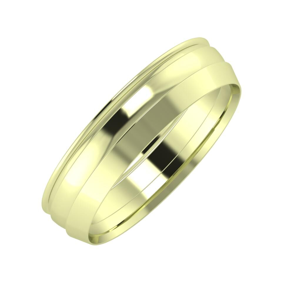 Agrippína - Ágosta - Aisah 5mm 14 karátos zöld arany karikagyűrű