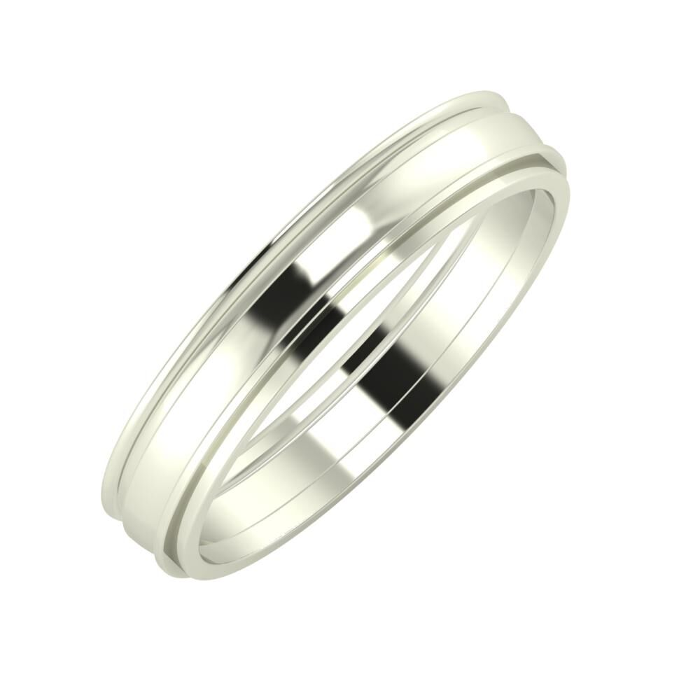Agrippína - Ágosta - Ájlin 4mm 14 karátos fehér arany karikagyűrű