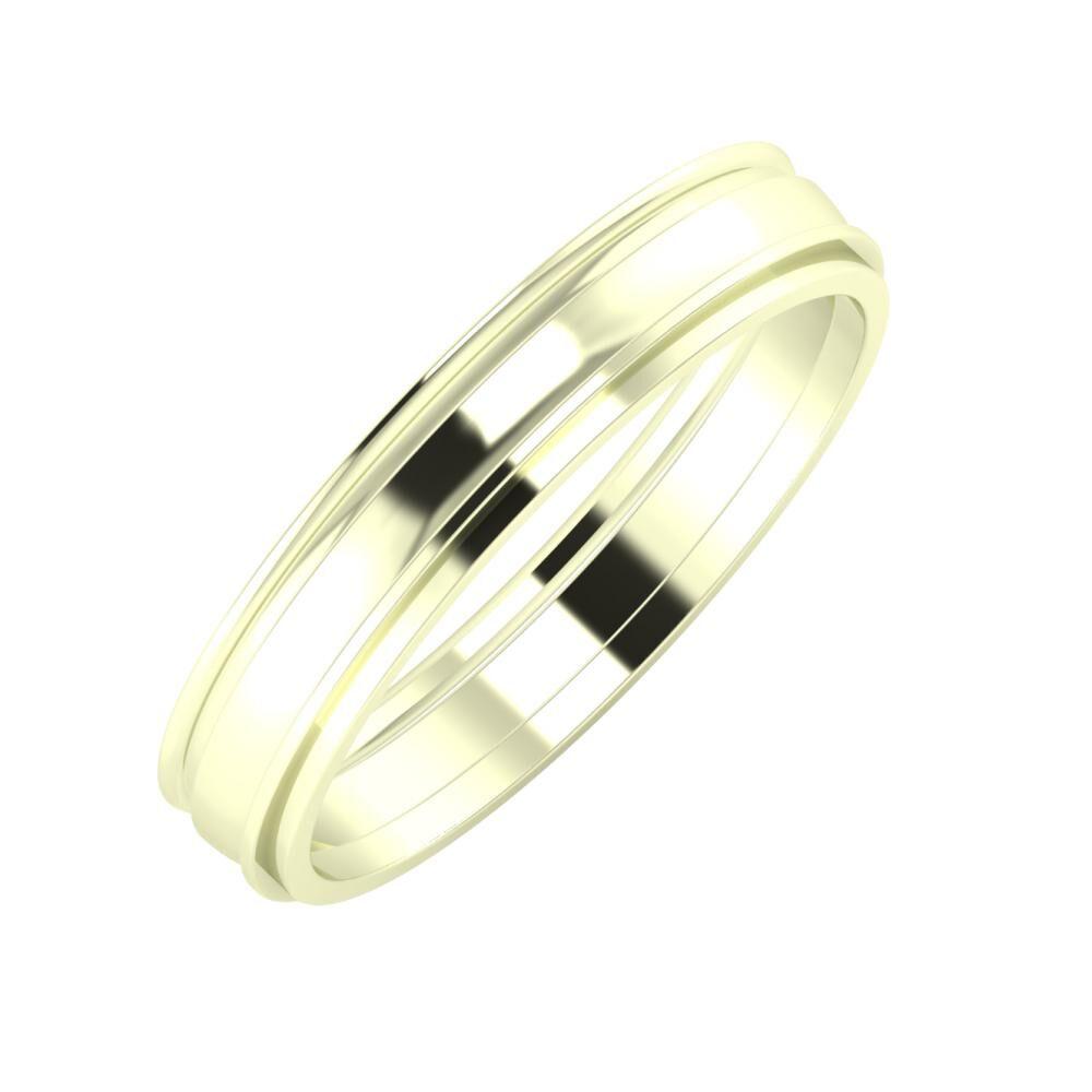 Agrippína - Ágosta - Ájlin 4mm 22 karátos fehér arany karikagyűrű