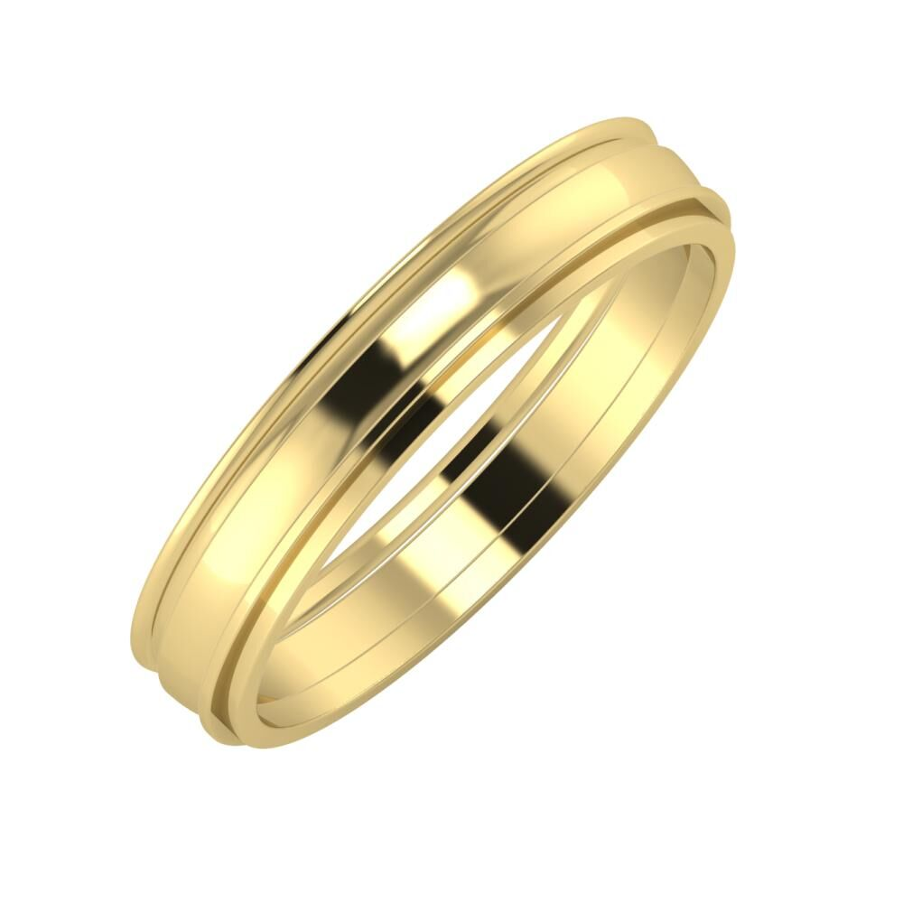 Agrippína - Ágosta - Ájlin 4mm 14 karátos sárga arany karikagyűrű