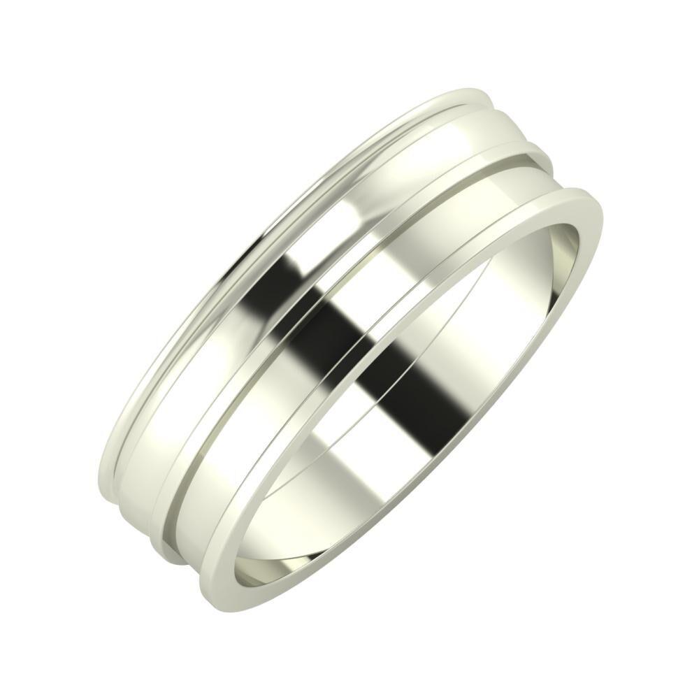 Agrippína - Ágosta - Ajnácska 6mm 14 karátos fehér arany karikagyűrű