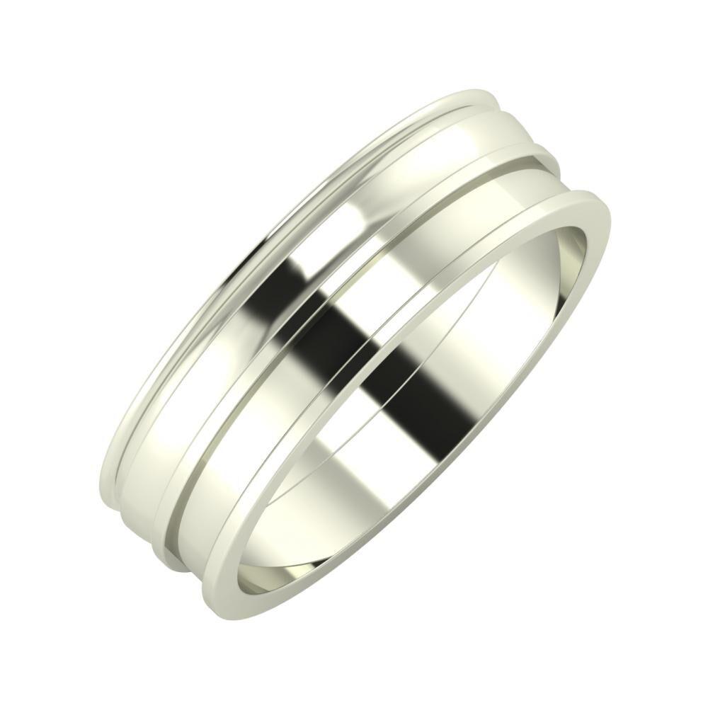 Agrippína - Ágosta - Ajnácska 6mm 18 karátos fehér arany karikagyűrű