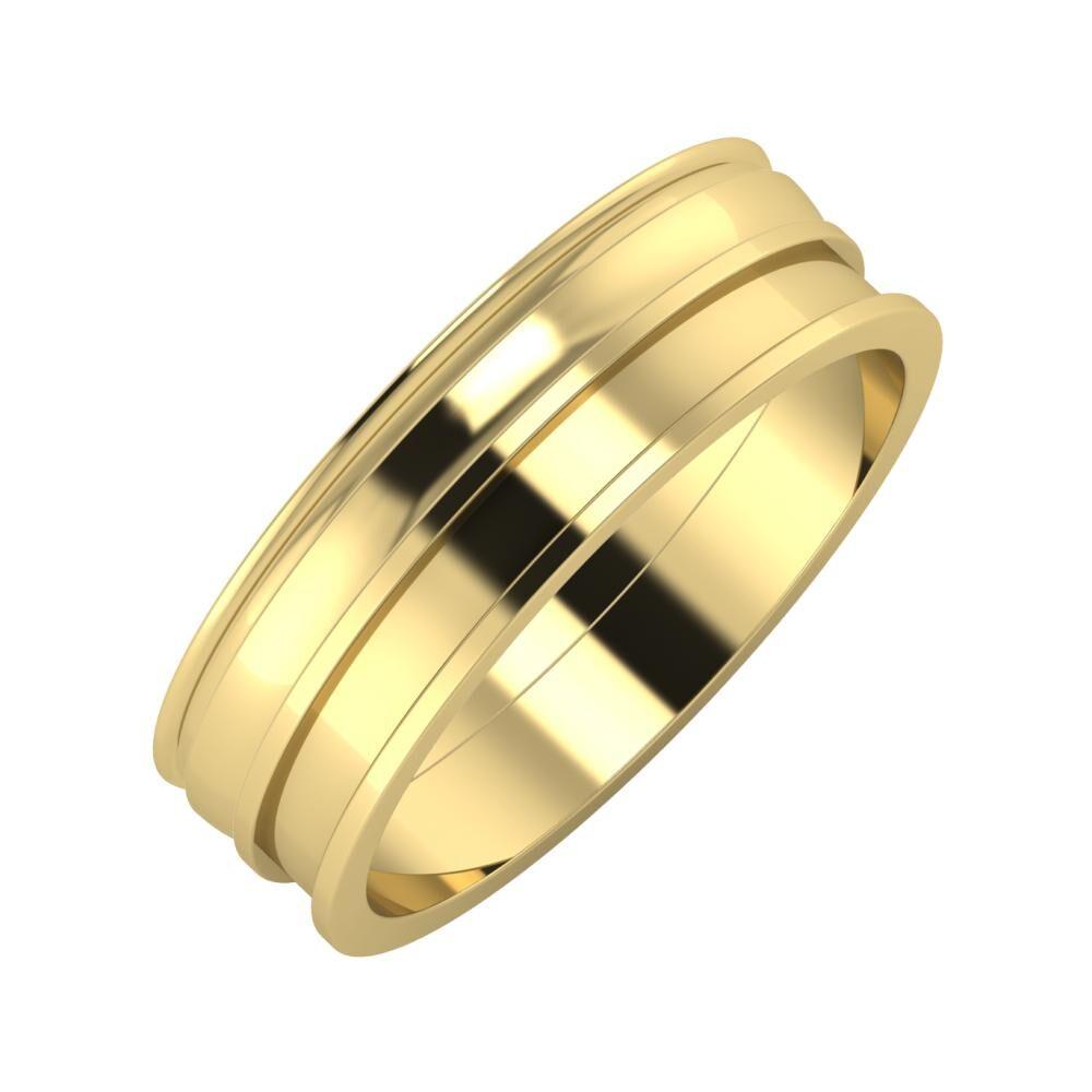 Agrippína - Ágosta - Ajnácska 6mm 14 karátos sárga arany karikagyűrű