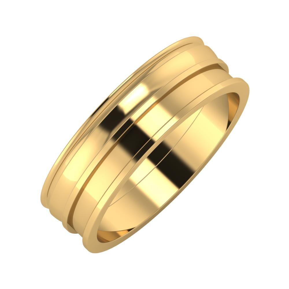 Agrippína - Ágosta - Ajnácska 6mm 18 karátos sárga arany karikagyűrű
