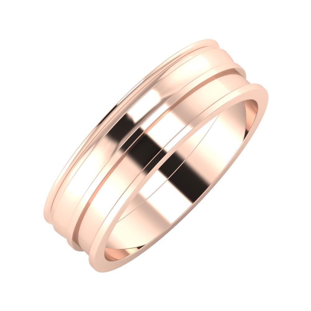 Agrippína - Ágosta - Ajnácska 6mm 14 karátos rosé arany karikagyűrű