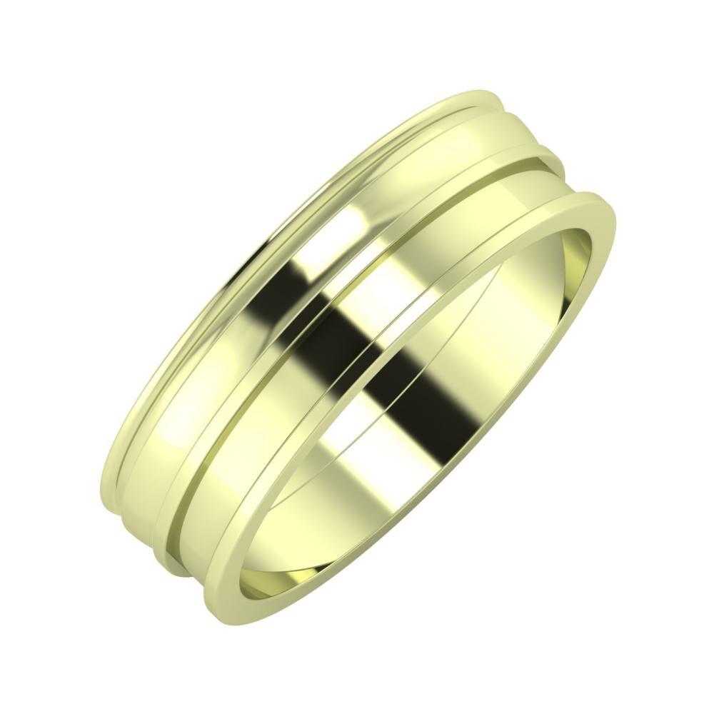 Agrippína - Ágosta - Ajnácska 6mm 14 karátos zöld arany karikagyűrű