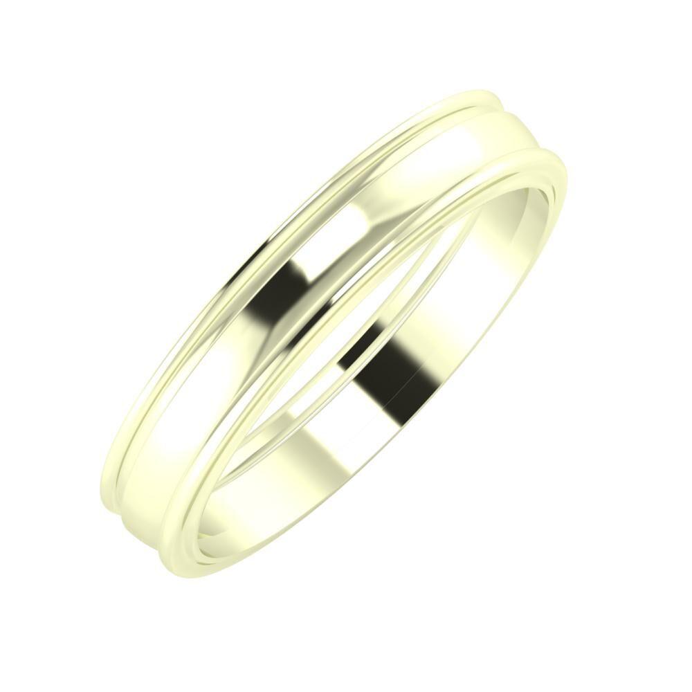 Agrippína - Ágosta - Ajra 4mm 22 karátos fehér arany karikagyűrű