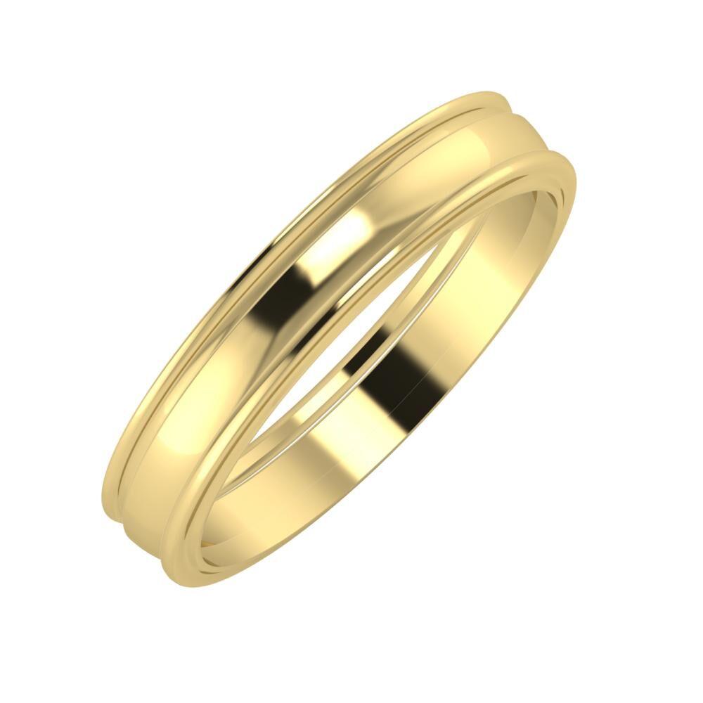 Agrippína - Ágosta - Ajra 4mm 14 karátos sárga arany karikagyűrű