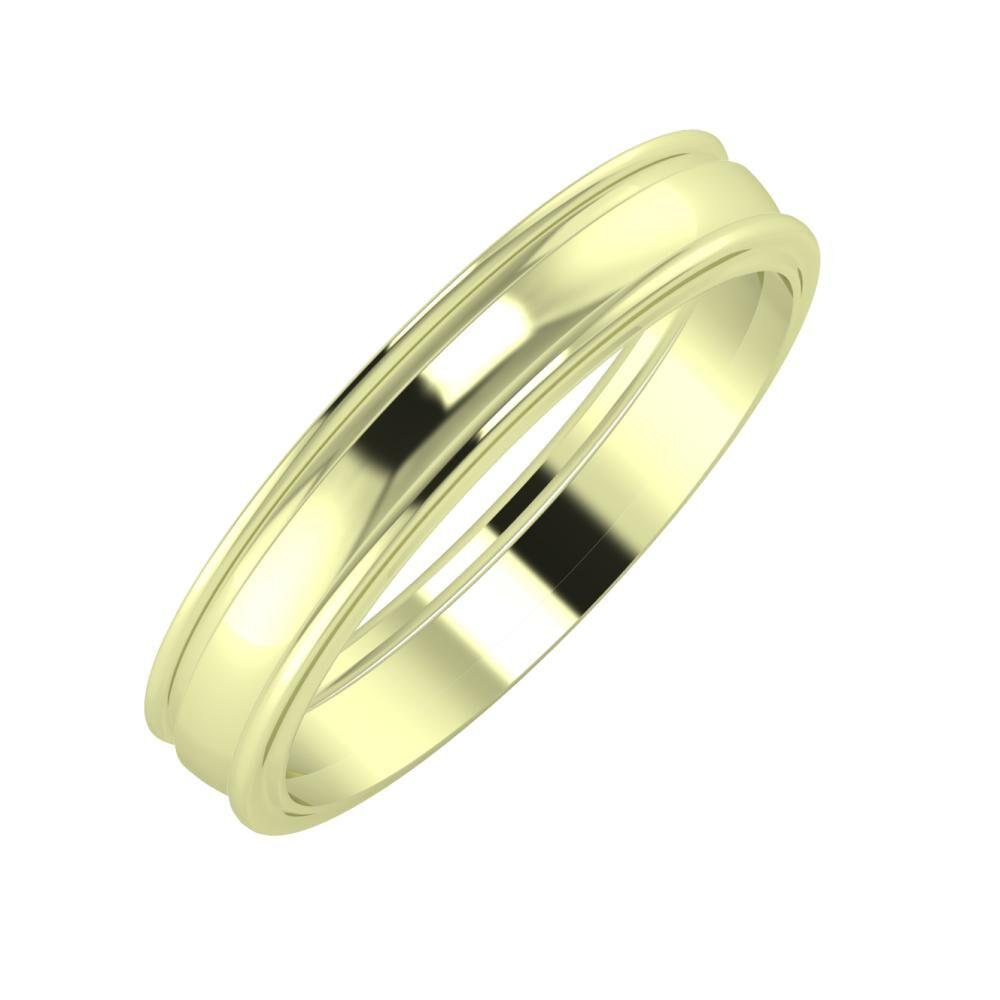 Agrippína - Ágosta - Ajra 4mm 14 karátos zöld arany karikagyűrű