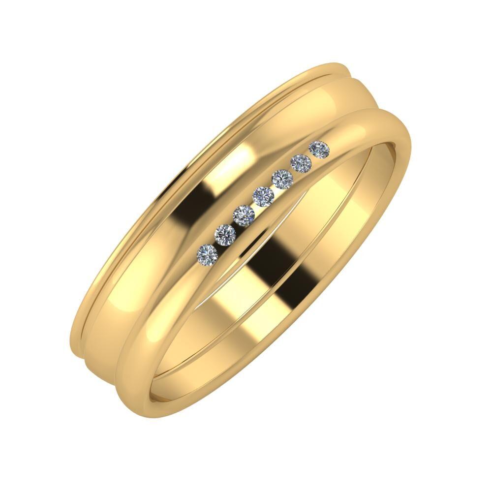 Agrippína - Ágosta - Albertina 5mm 22 karátos sárga arany karikagyűrű