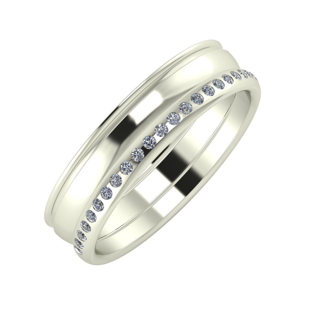 Agrippína - Ágosta - Aldea 5mm 14 karátos fehér arany karikagyűrű