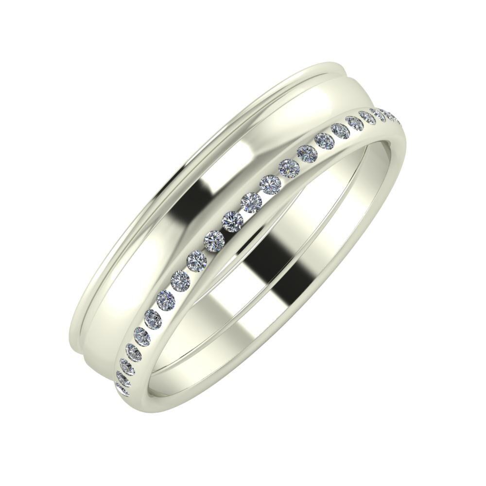 Agrippína - Ágosta - Aldea 5mm 18 karátos fehér arany karikagyűrű