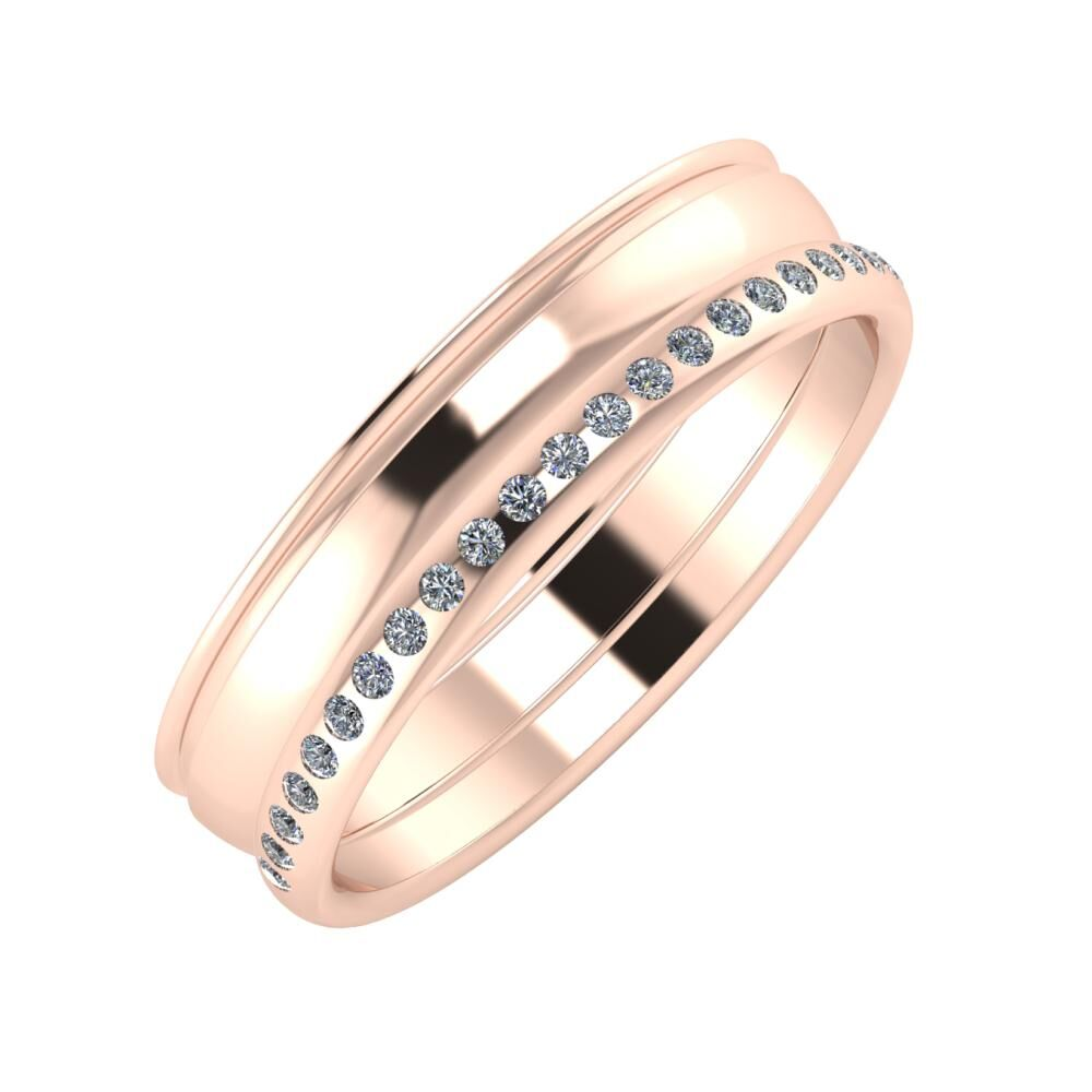 Agrippína - Ágosta - Aldea 5mm 14 karátos rosé arany karikagyűrű
