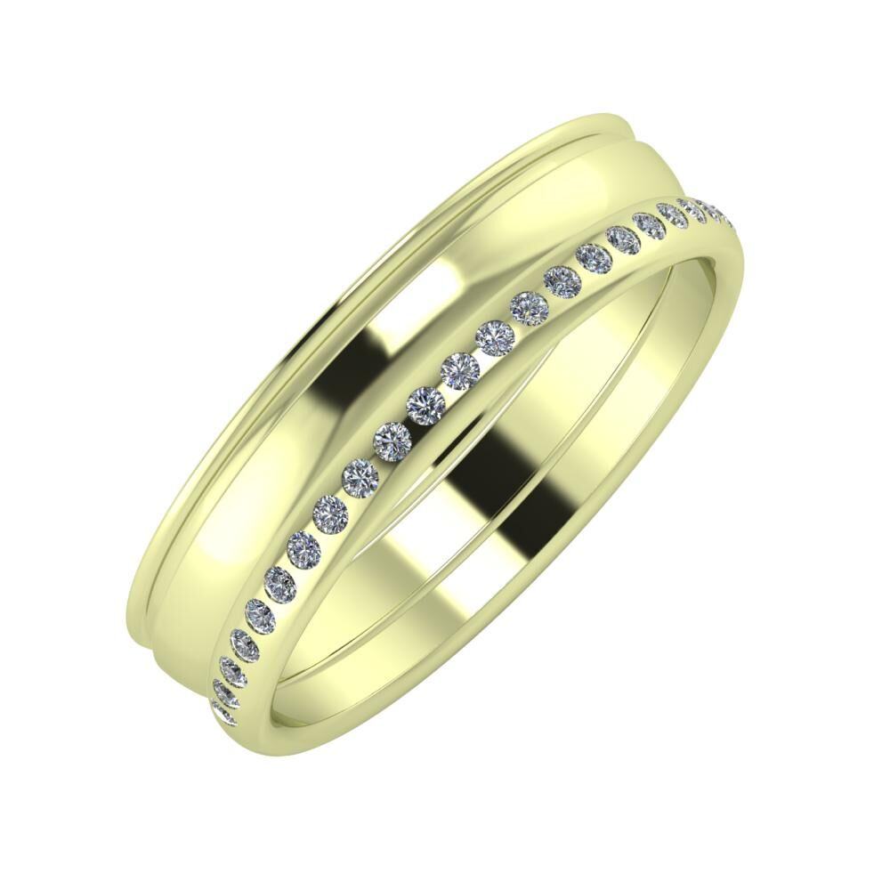 Agrippína - Ágosta - Aldea 5mm 14 karátos zöld arany karikagyűrű