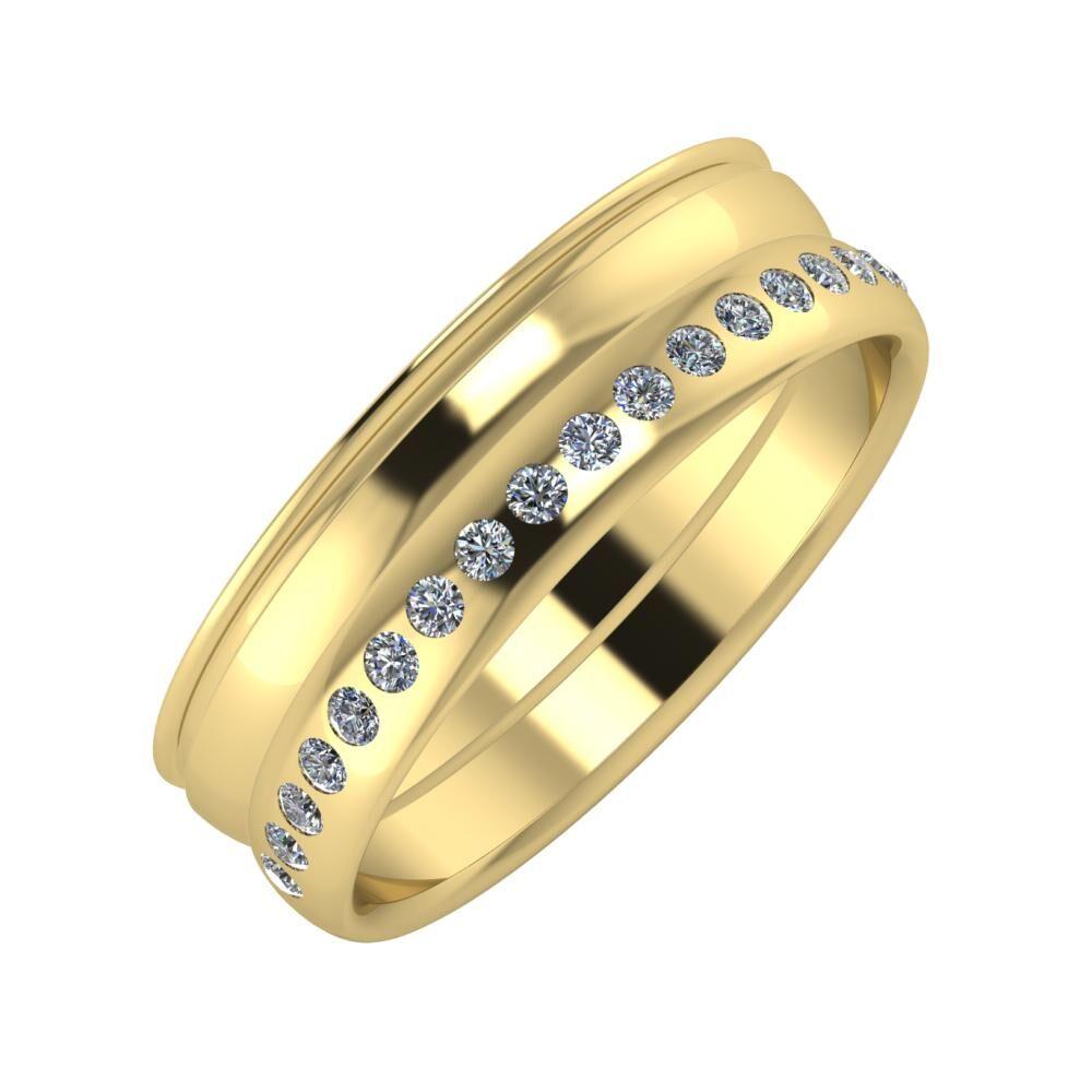 Agrippína - Ágosta - Aldea 6mm 14 karátos sárga arany karikagyűrű