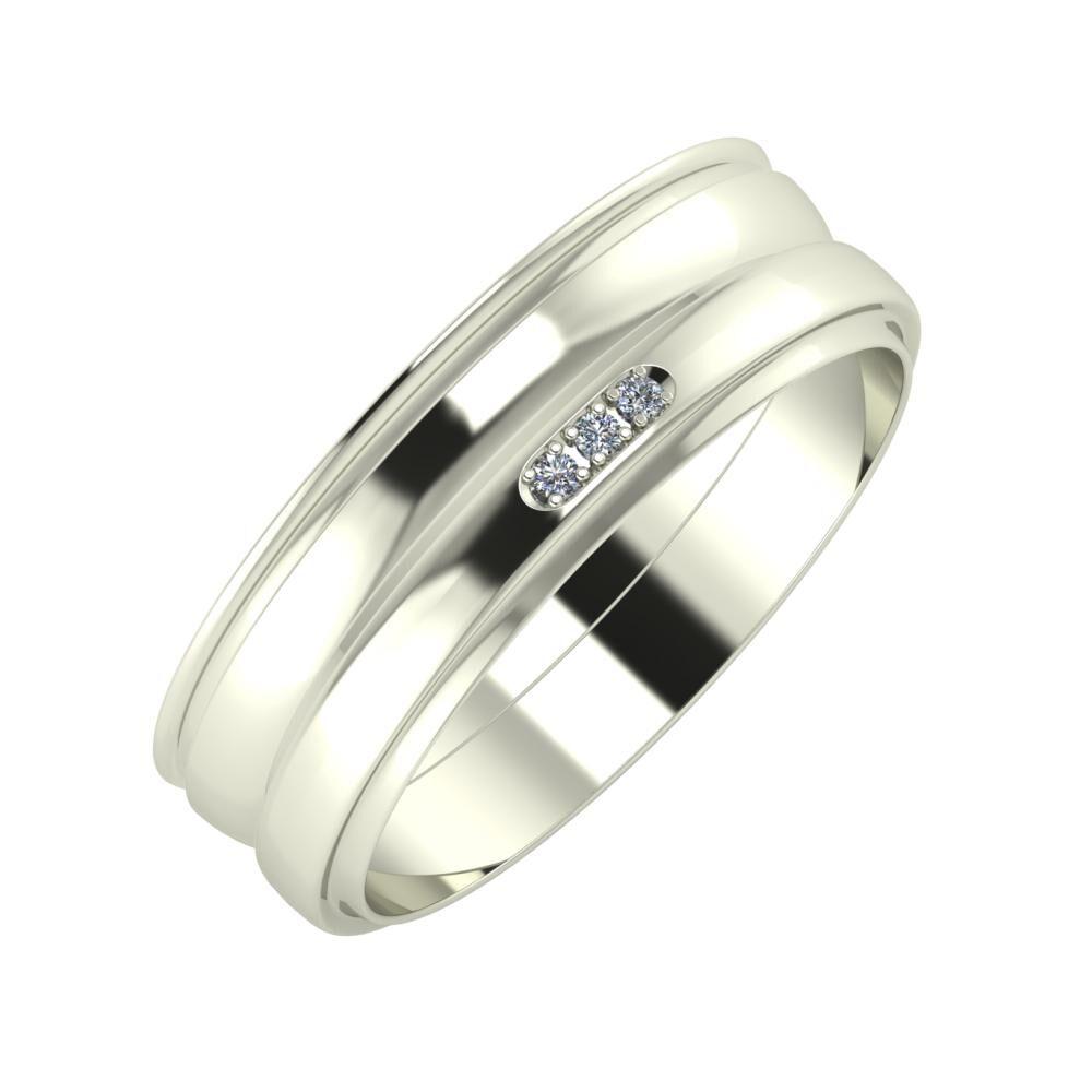 Agrippína - Ágosta - Aleszja 6mm 14 karátos fehér arany karikagyűrű