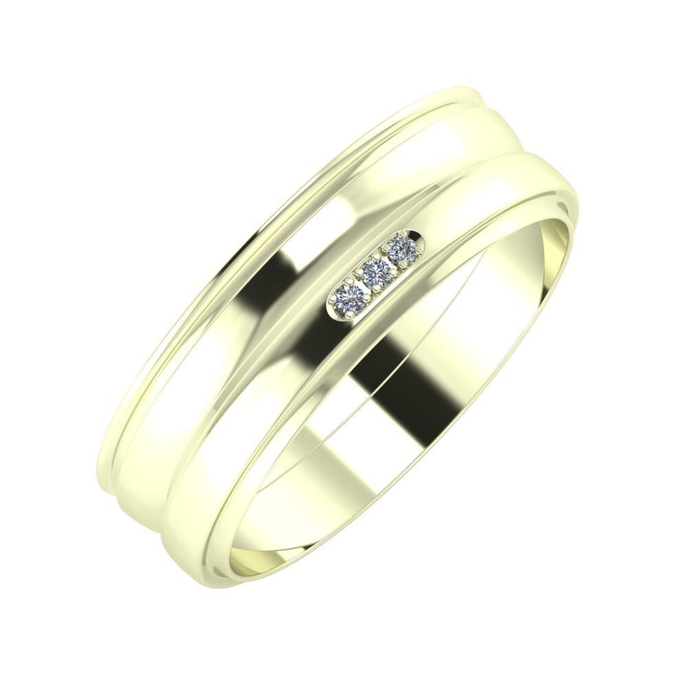 Agrippína - Ágosta - Aleszja 6mm 22 karátos fehér arany karikagyűrű