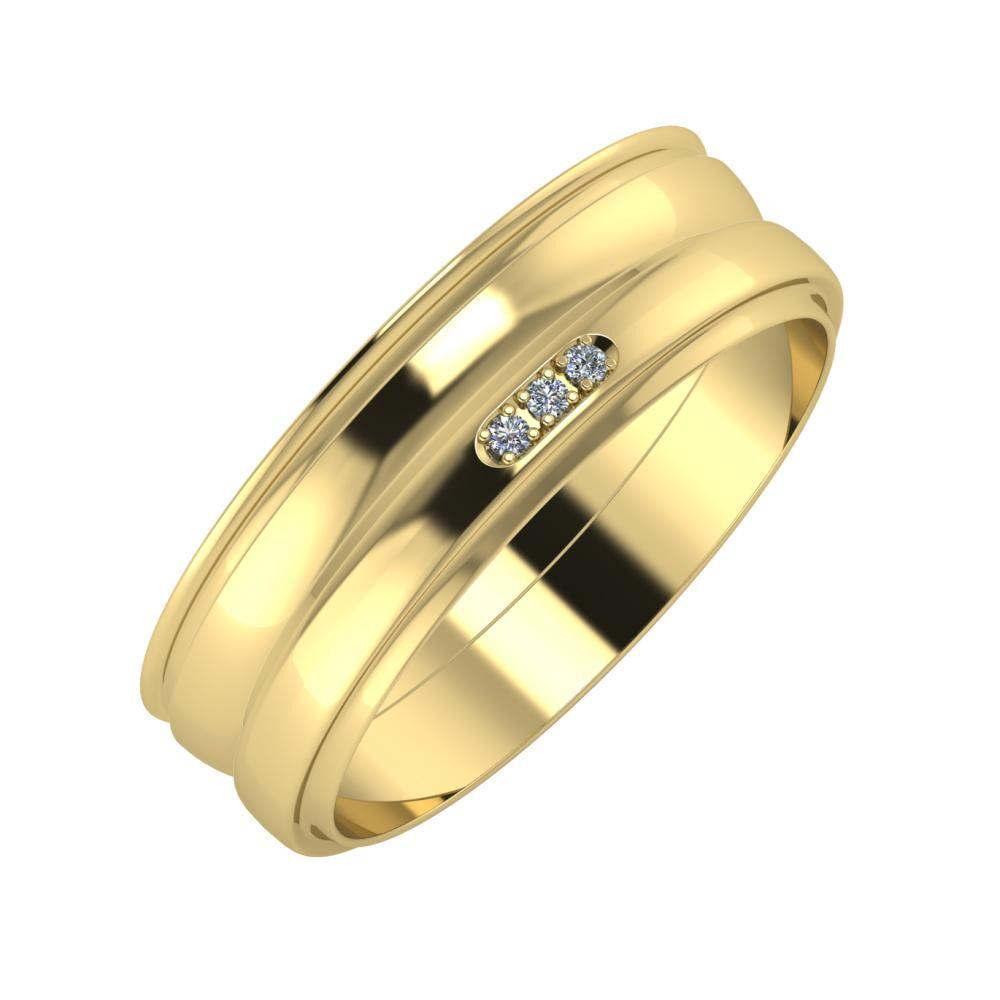 Agrippína - Ágosta - Aleszja 6mm 14 karátos sárga arany karikagyűrű