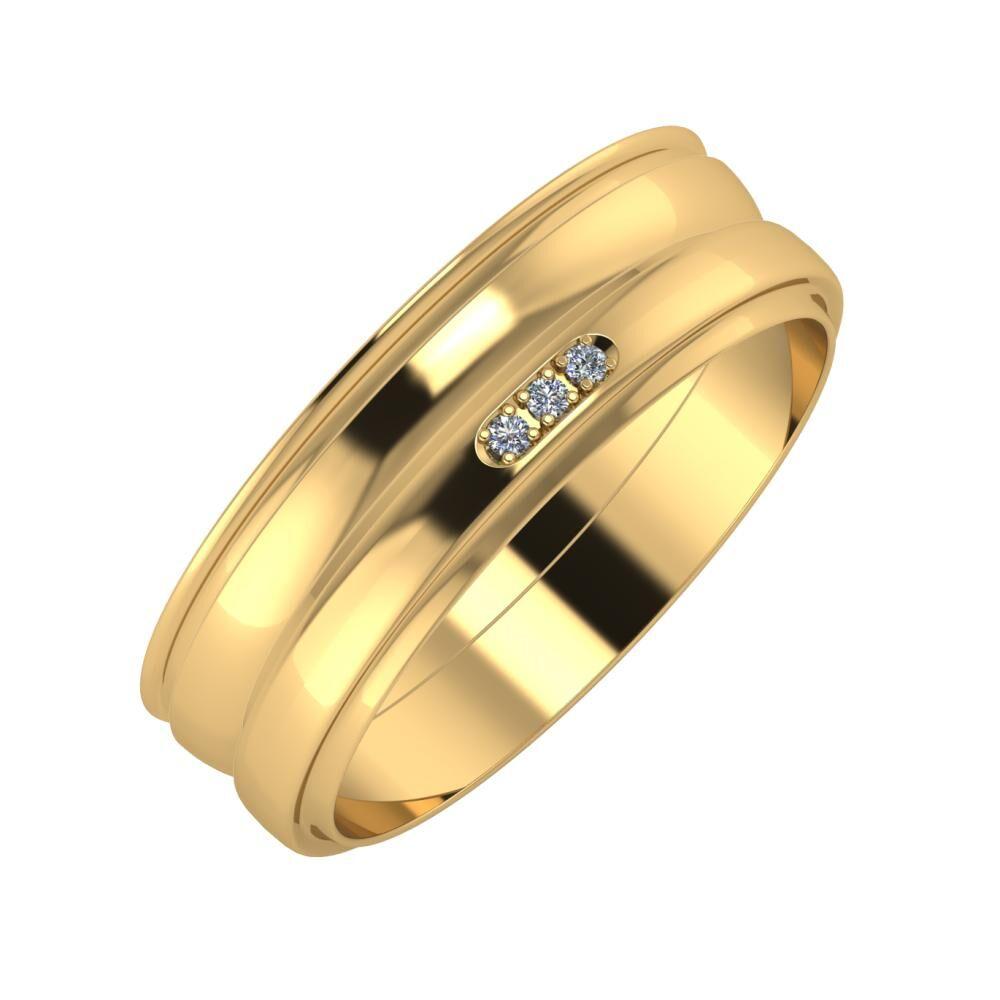 Agrippína - Ágosta - Aleszja 6mm 18 karátos sárga arany karikagyűrű