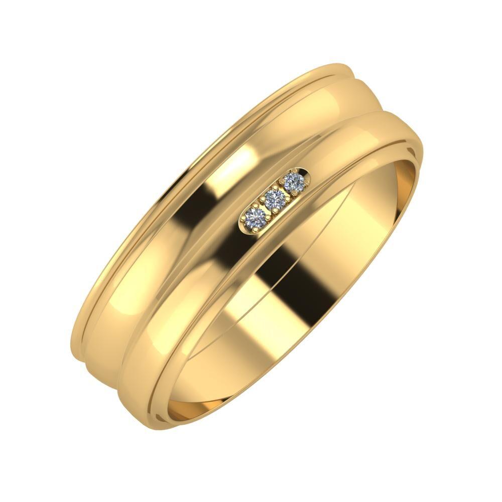 Agrippína - Ágosta - Aleszja 6mm 22 karátos sárga arany karikagyűrű