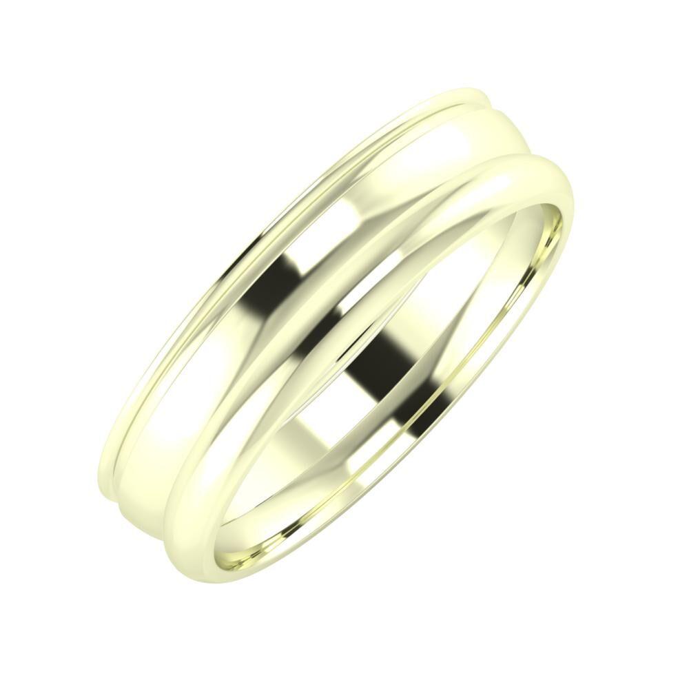Agrippína - Ágosta - Alett 5mm 22 karátos fehér arany karikagyűrű