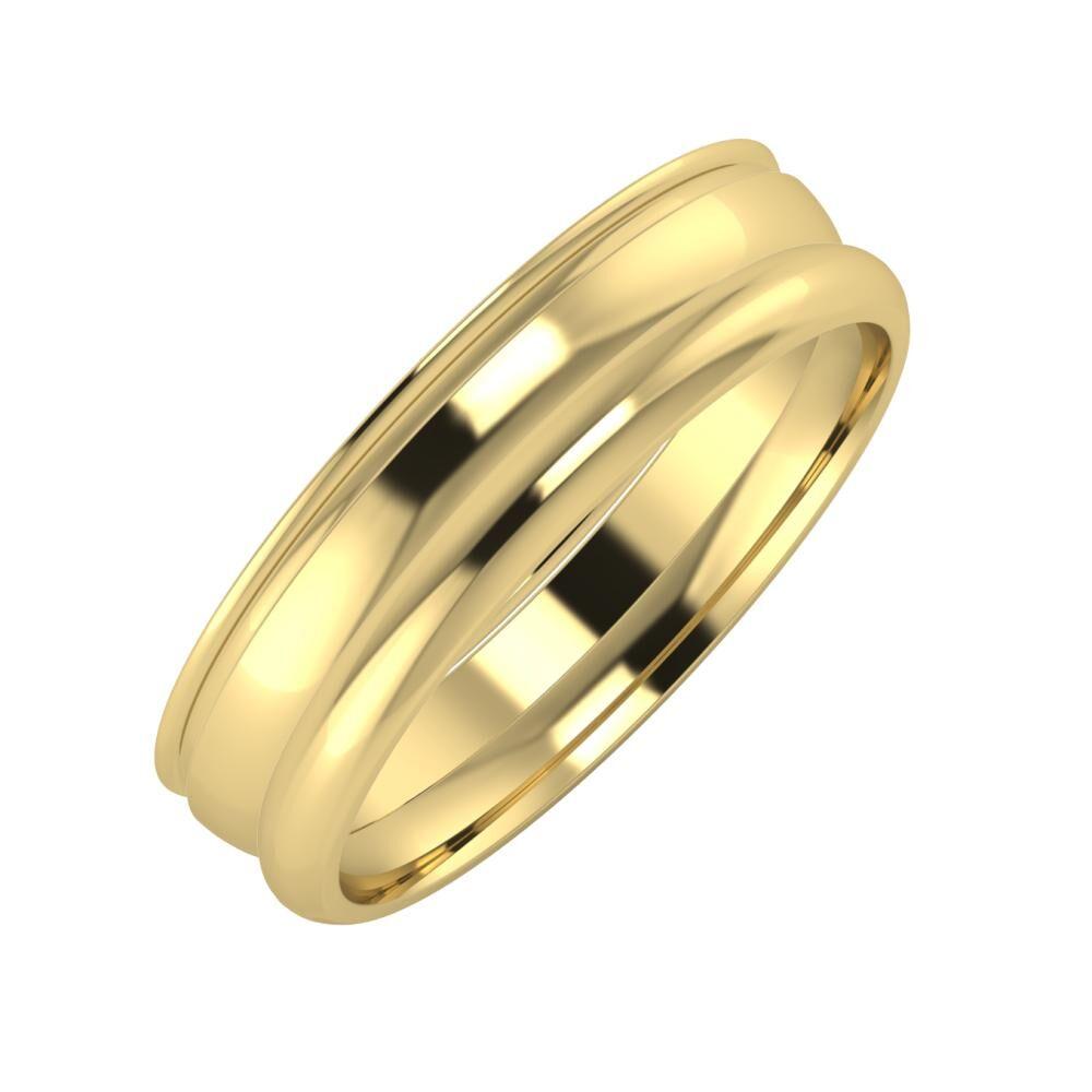 Agrippína - Ágosta - Alett 5mm 14 karátos sárga arany karikagyűrű