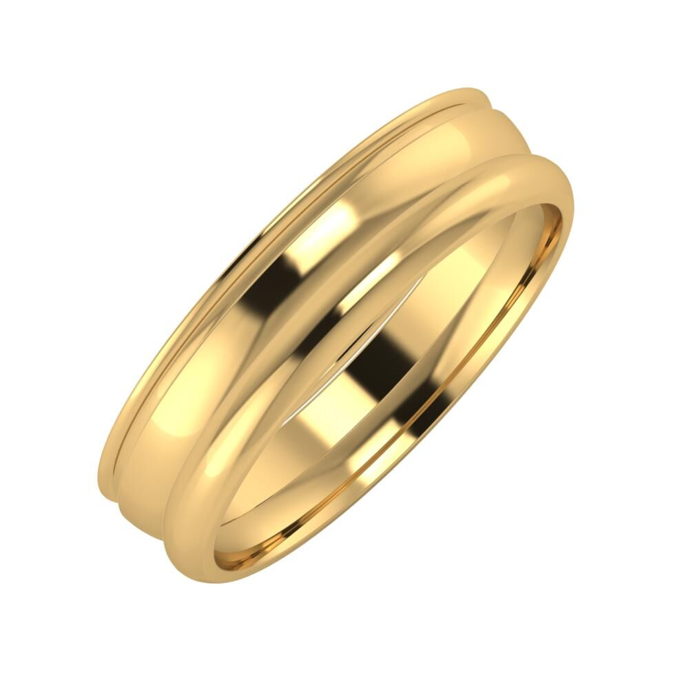 Agrippína - Ágosta - Alett 5mm 18 karátos sárga arany karikagyűrű