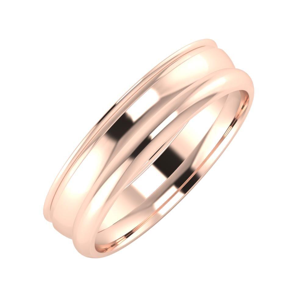 Agrippína - Ágosta - Alett 5mm 14 karátos rosé arany karikagyűrű