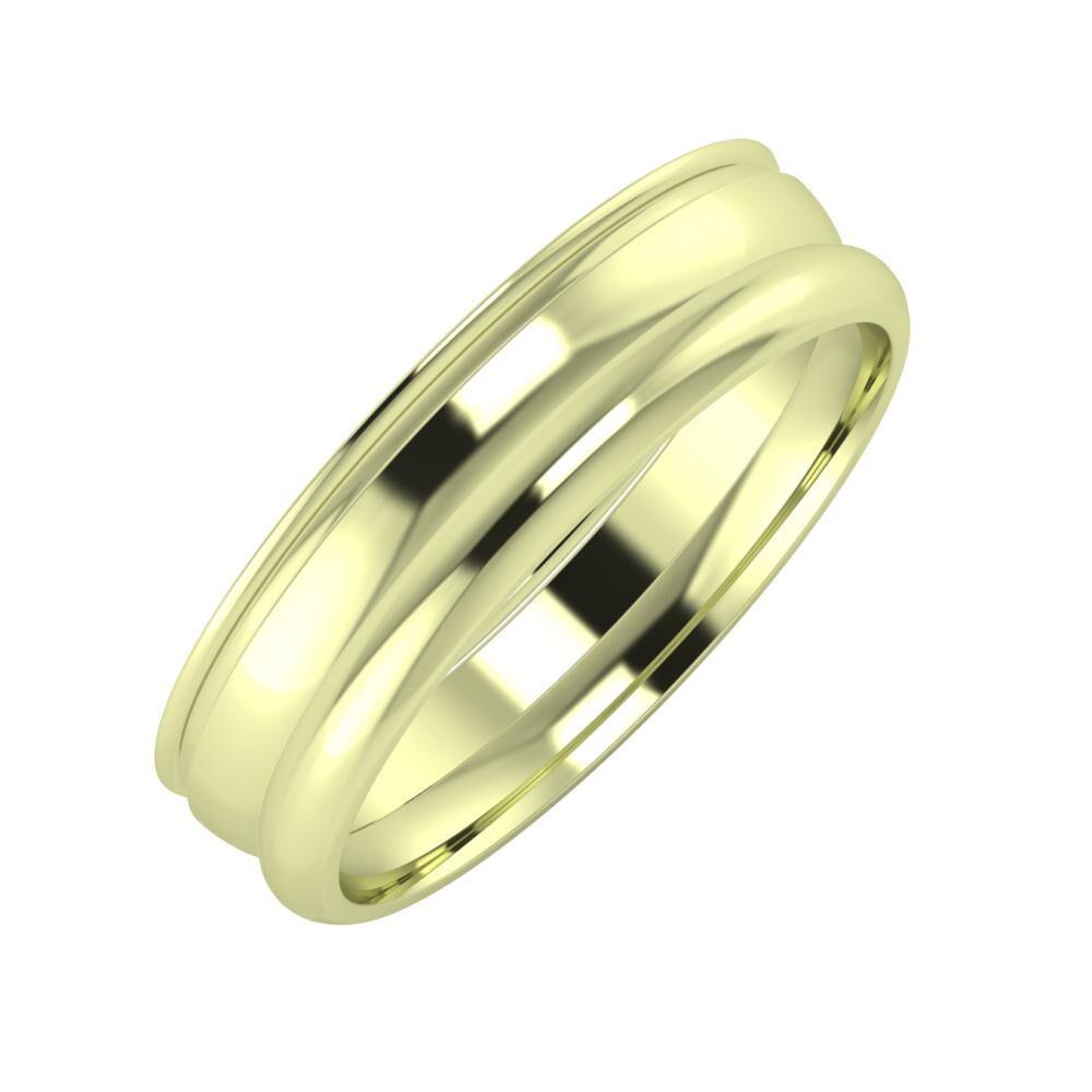 Agrippína - Ágosta - Alett 5mm 14 karátos zöld arany karikagyűrű
