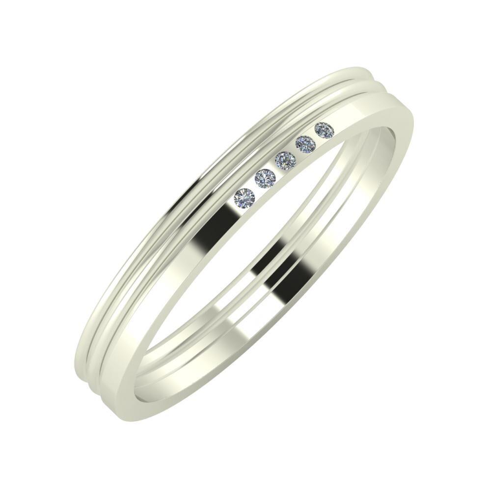 Agrippína - Agrippína - Adelgunda 3mm 18 karátos fehér arany karikagyűrű