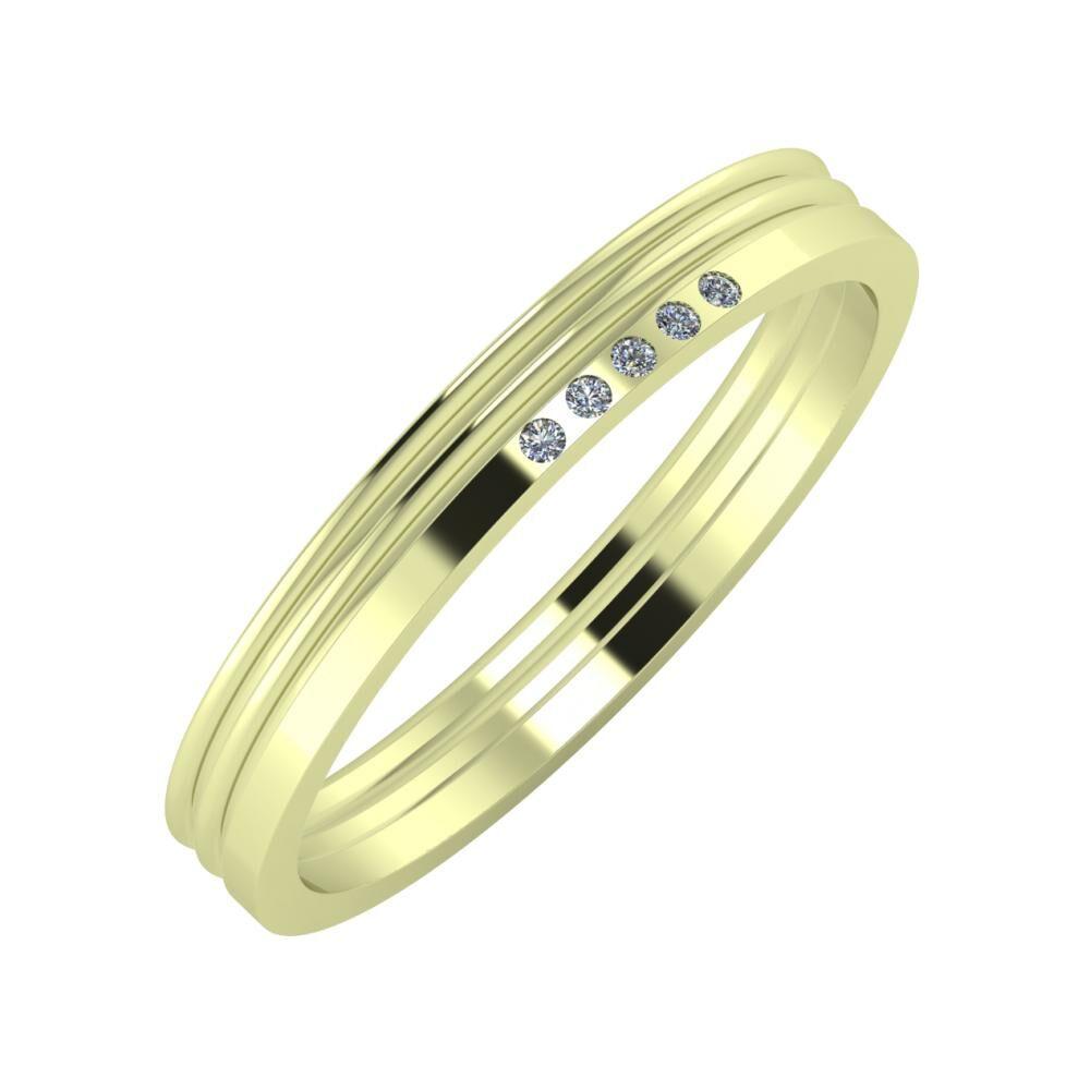 Agrippína - Agrippína - Adelgunda 3mm 14 karátos zöld arany karikagyűrű