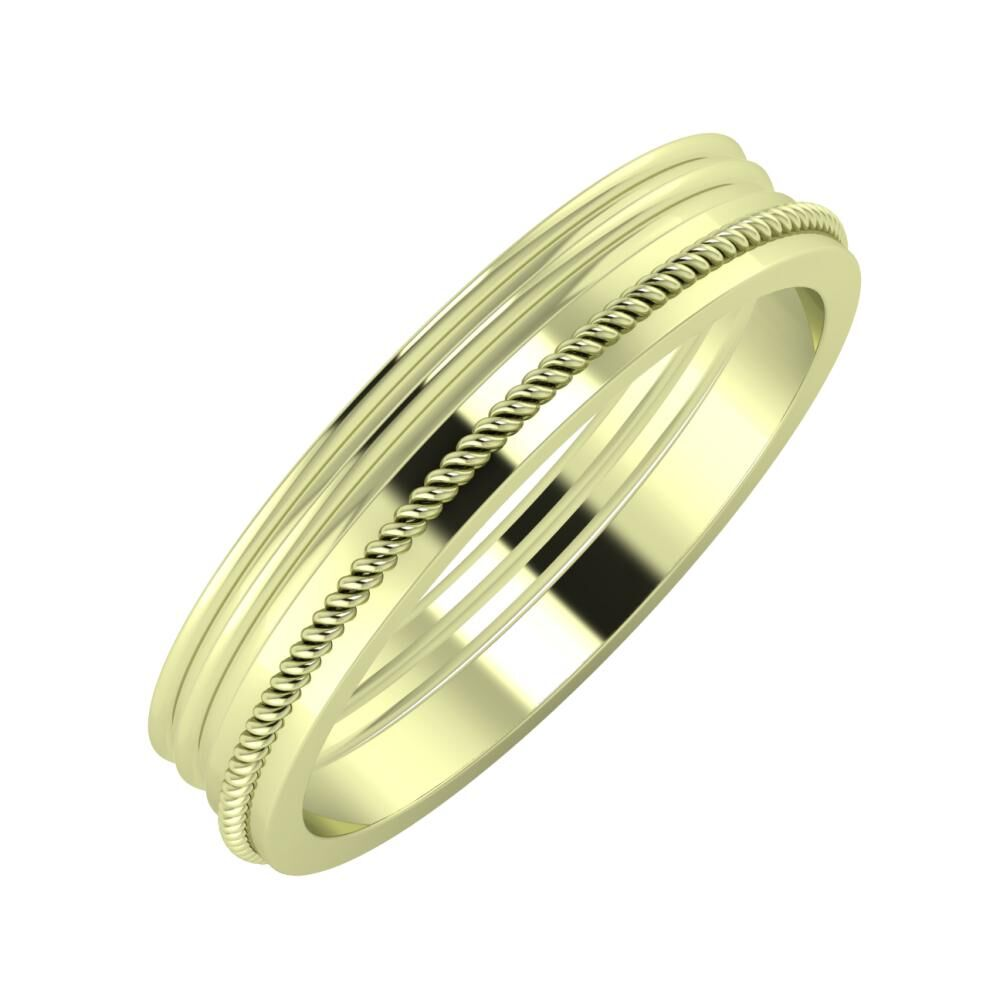 Agrippína - Agrippína - Afrodité 4mm 14 karátos zöld arany karikagyűrű