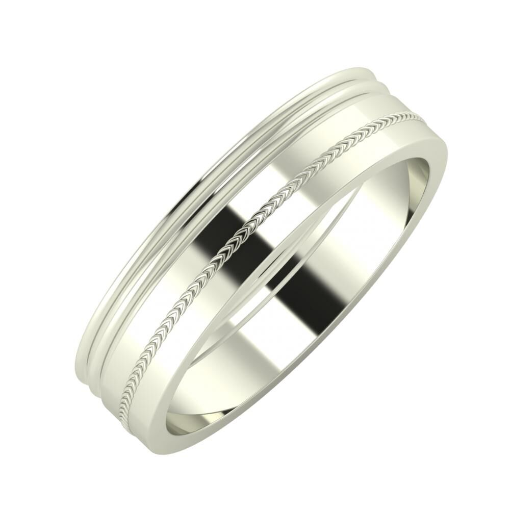Agrippína - Agrippína - Agáta 5mm 14 karátos fehér arany karikagyűrű