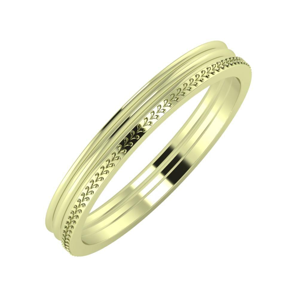 Agrippína - Agrippína - Aglája 3mm 14 karátos zöld arany karikagyűrű