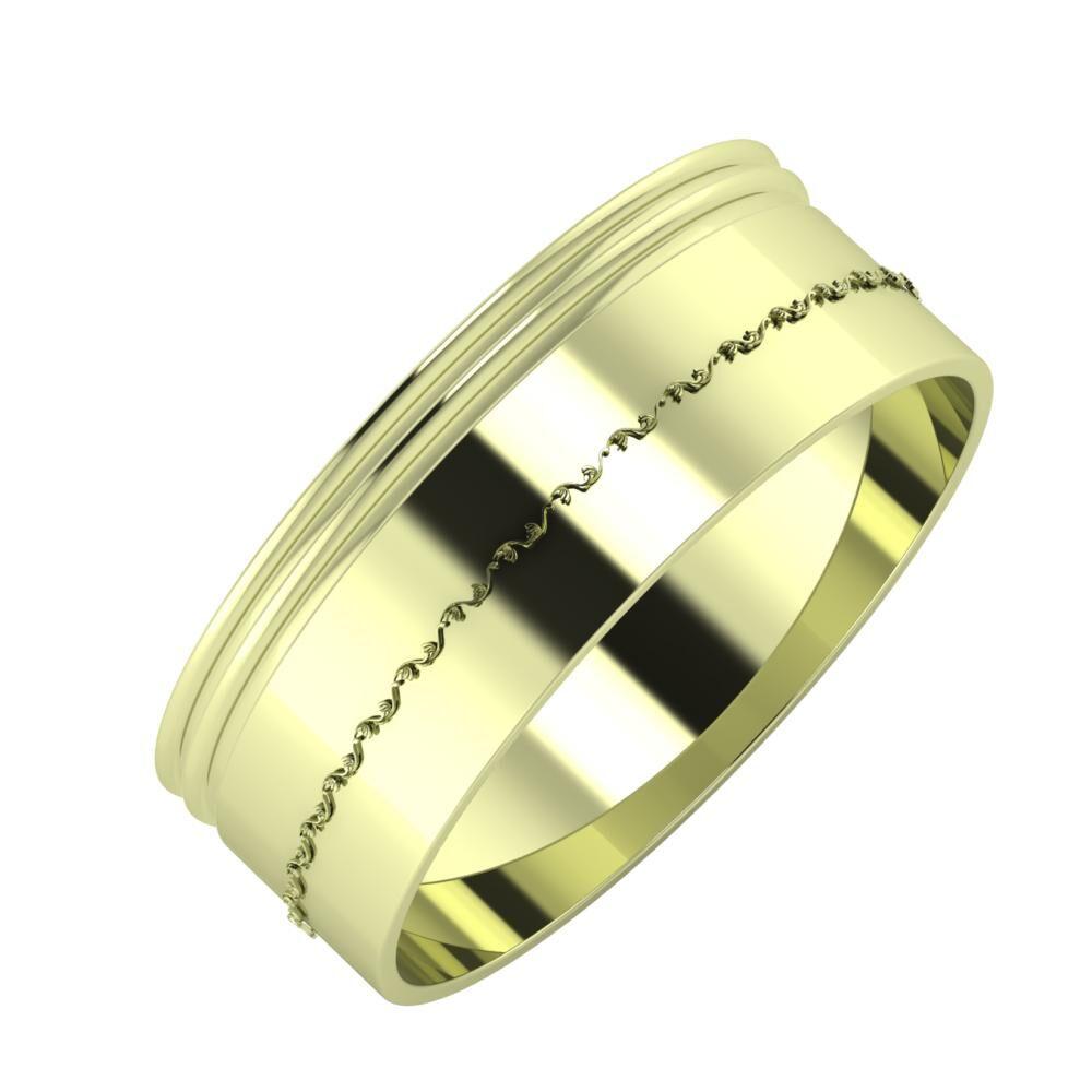 Agrippína - Agrippína - Agnabella 7mm 14 karátos zöld arany karikagyűrű