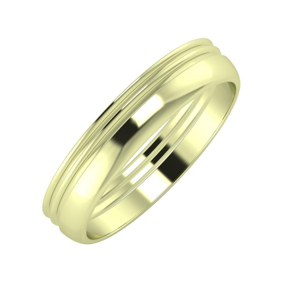 Agrippína - Agrippína - Ágosta 4mm 14 karátos zöld arany karikagyűrű