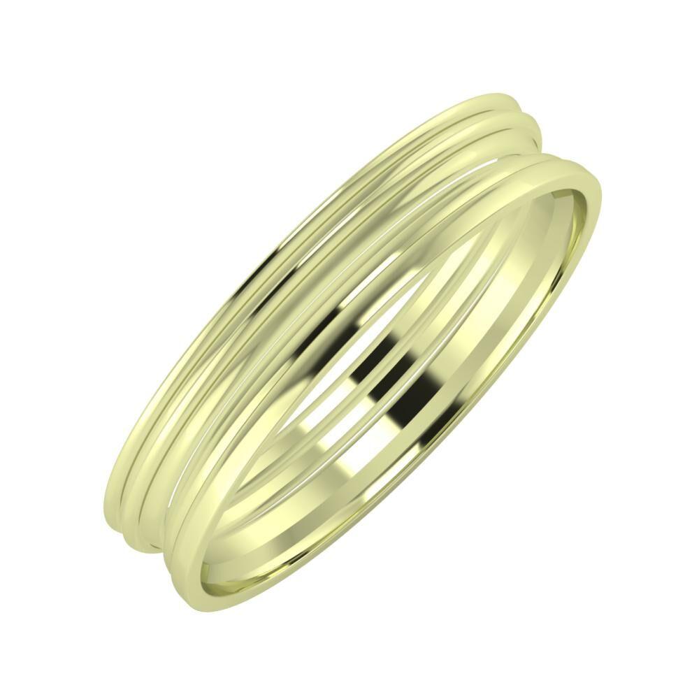 Agrippína - Agrippína - Aida 4mm 14 karátos zöld arany karikagyűrű