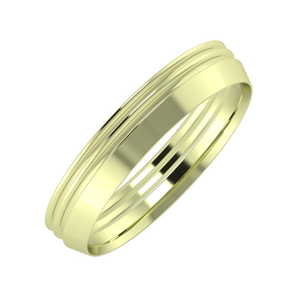 Agrippína - Agrippína - Aisah 4mm 14 karátos zöld arany karikagyűrű