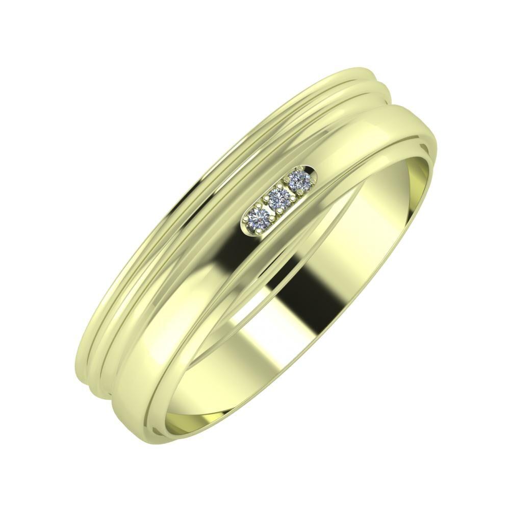Agrippína - Agrippína - Aleszja 5mm 14 karátos zöld arany karikagyűrű