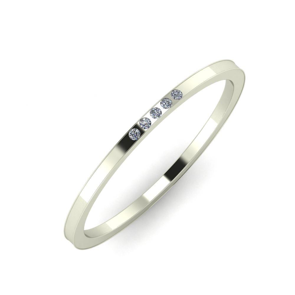 Agrippína - Aida - Adelaida 4mm 18 karátos fehér arany karikagyűrű
