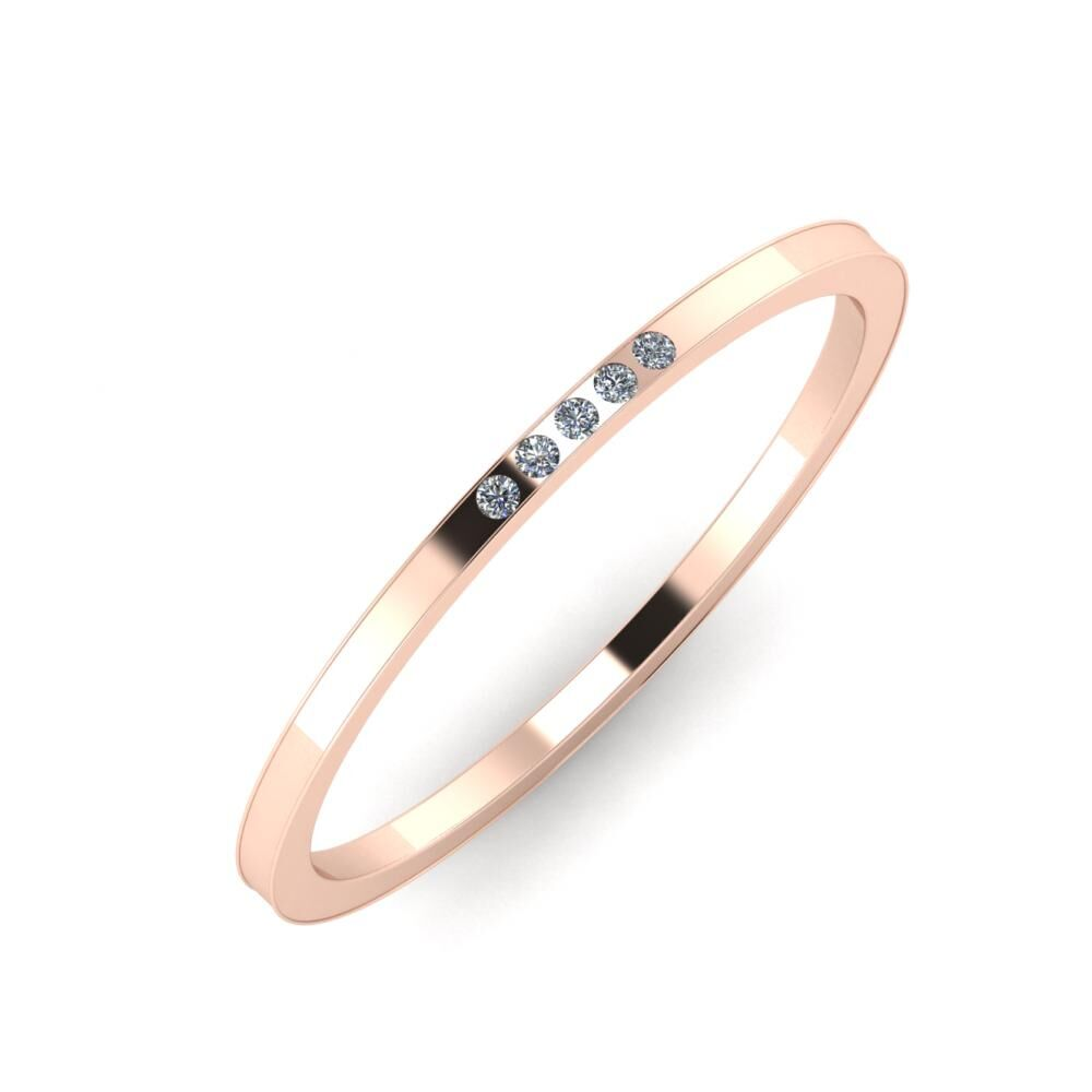 Agrippína - Aida - Adelaida 4mm 18 karátos rosé arany karikagyűrű