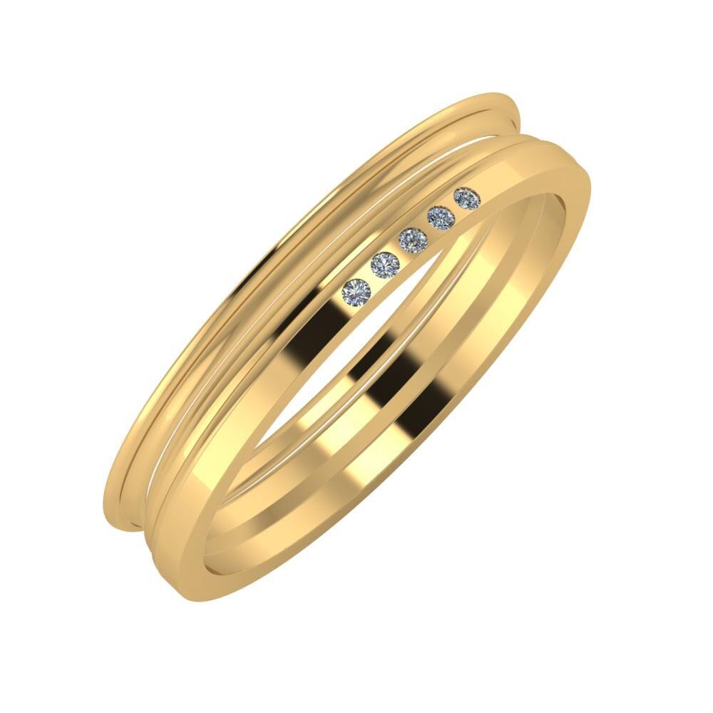 Agrippína - Aida - Adelgunda 4mm 18 karátos sárga arany karikagyűrű