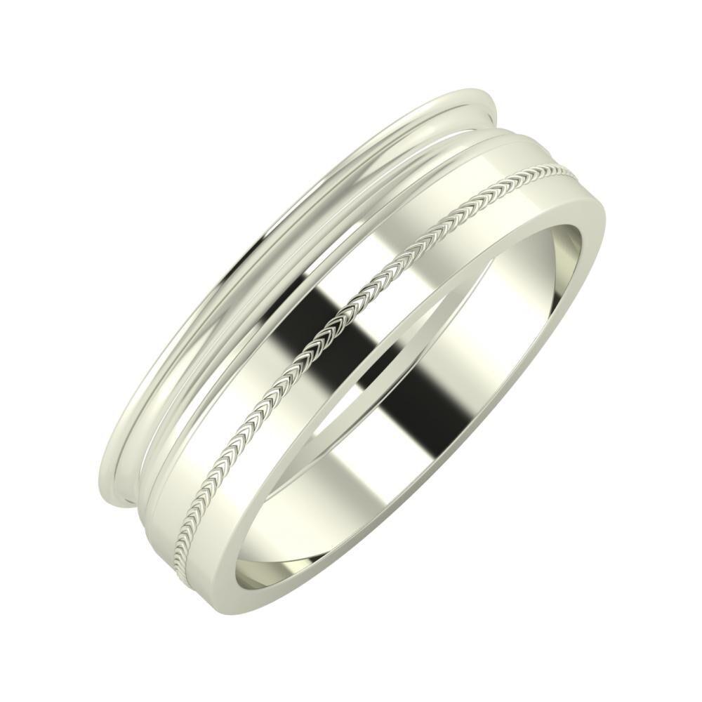 Agrippína - Aida - Agáta 6mm 18 karátos fehér arany karikagyűrű