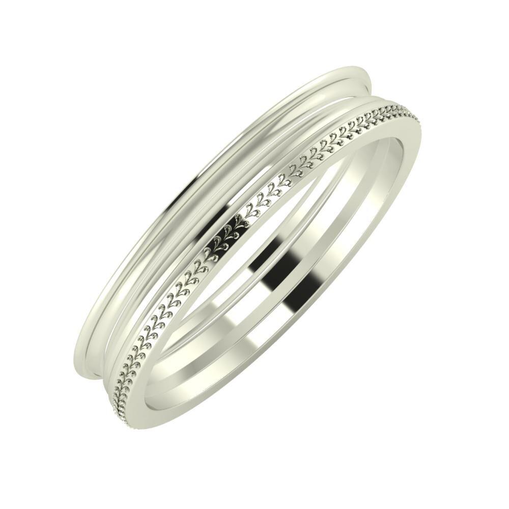 Agrippína - Aida - Aglája 4mm 18 karátos fehér arany karikagyűrű